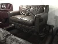 As new brown leather 3 and 2 sofas