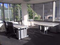 4 office desks, 4 pedestals, 2 chairs, 1 fridge & 1 wardrobe. All ready to go.