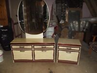 Dressing Table and Fixed Mirror with Side Table