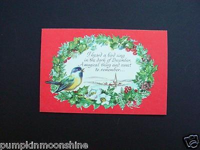 Brownie Erica Von Kager Xmas Greeting Card Pretty Bird & Holiday Poem