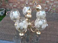 Brass 5 arm chandelier