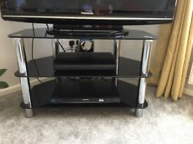 TV stand, black and chrome, as new