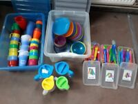 Large selection of plastic cutlery, bowls, plates and jugs