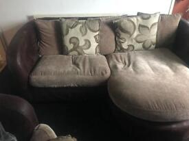 L shape sofa and swivel chair