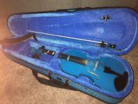 Blue 1/2 size violin
