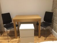 Folding dinning table + 2 chairs + bedside table
