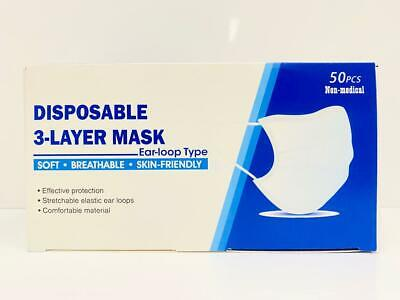 50 Disposable 3 PLY Blue Face Masks Protective & Breathable Non Medical Surgical