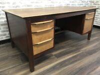 Antique Oak Twin Pedestal Office Desk