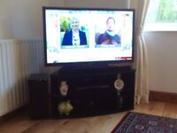TV Stand Panasonic in Black with Glass Shelf Very Good Condition