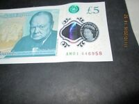 Bank of England Genuine New POLYMER £5 Note