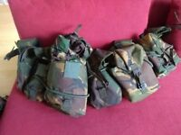 Cadet webbing and camouflage back pack + various items of camouflage clothing
