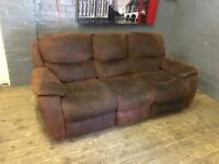 HARVEYS BROWN FABRIC 3 SEATER FULLY RECLINERS