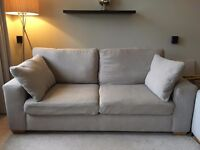 Tesco Direct taupe Sofa bed and Love seat - cost £900 new both only 15 mnts old