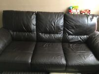 3 seater leather sofa and a leather electric recliner