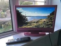**Pink 16 inch portable widescreen TV with Freeview**