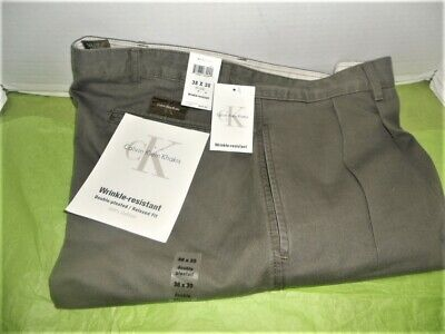 Calvin Klein Khaki's Relaxed Fit Double Pleated W38 L30 - Olive - NOS Pleats Relaxed Fit Khakis