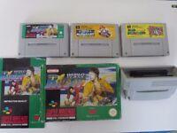 Super Mario Kart & Super Mario World & World Class Rugby Super Nintendo + Converter Adapter SNES