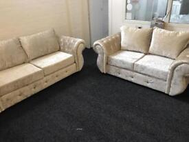 Cream crush velvet 3 and 2 seater with formal back cushions new viewing welcome
