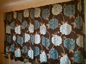 Duck egg & brown curtains