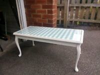 Painted glass top coffee table