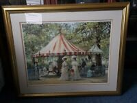 A BEAUTIFUL FRAMED AND GLAZED LARGE PRINT, SUMMER CAROUSEL BY ALAN MALEY