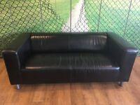 Black Leather Kipplan Ikea Sofa