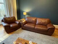 2/3 Seater Couch and Chair - LEATHER - BROWN