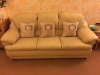 Cream leather 3 piece suite for sale.