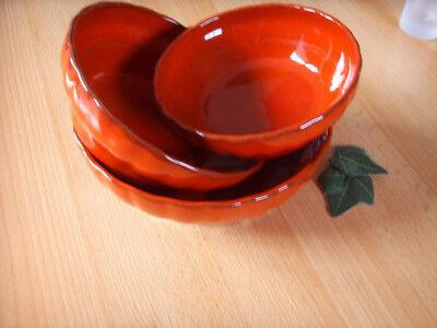 3 rote Keramik Servier-Schüsseln Kummen Schalen in versch. Größen gerippt 1380 Rote Keramik