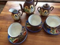 JAPANESE CHINA TEA SET. GOLD INLAY. 15 PIECE. EXCELLENT COND.
