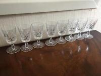 Set of 8 cut glass liquer glasses