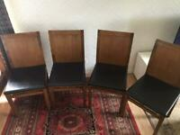 4 dining leather and wood chair