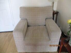 Oatmeal colour 3 seater sofa plus armchair