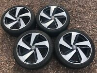 """Genuine 18"""" Volkswagen VW Golf Mk7.5 GTD GTI Milton Keynes Alloy Wheels 225/40R18 Tyres 5G0601025CN"""