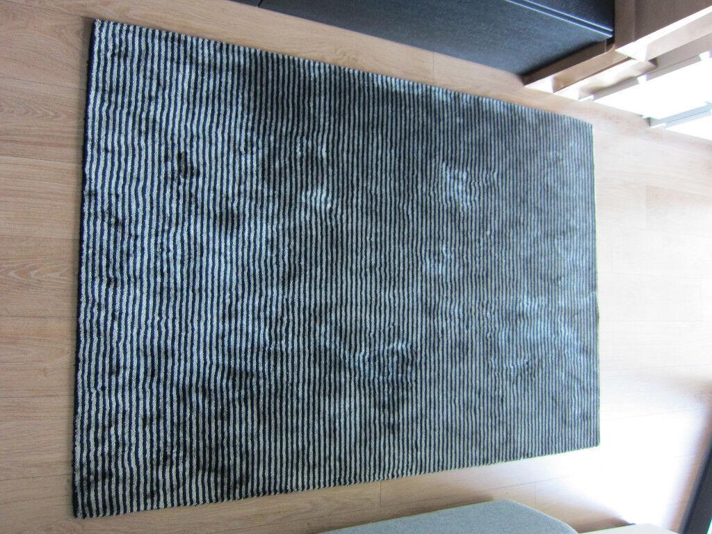 Katherine Carnaby Chrome Stripe Nero Rug 120 x 180 John Lewis Barker Stonehouse