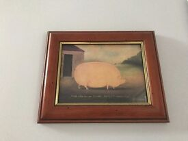 Mini framed pig and cow animal / farm pictures / paintings - great toilet or home decorations