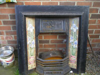 victorian cast iron fireplace insert with iris tiles