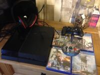 500gb PS4 with 5 games and headset