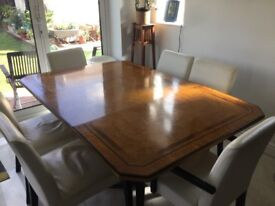 8 seater solid wood dining table with inlayed wood pattern in Wembley london