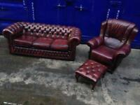 🔥🎉 IMMACULATE CHESTERFIELD LEATHER 3 piece suite oxblood
