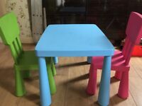 Child's table and 2 chairs - dining, arts and crafts, playing etc