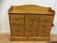 Pine multi drawer console chest of drawers