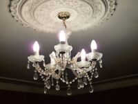 5 Lamp Crystal Chandelier plus 2 matching wall lights, very decorative