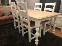 Gorgeous 5ft Shabby Chic Chunky Farmhouse Oak Table and 4 Lovely Chairs