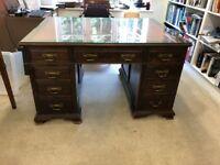 Large Antique Oak Partners Desk