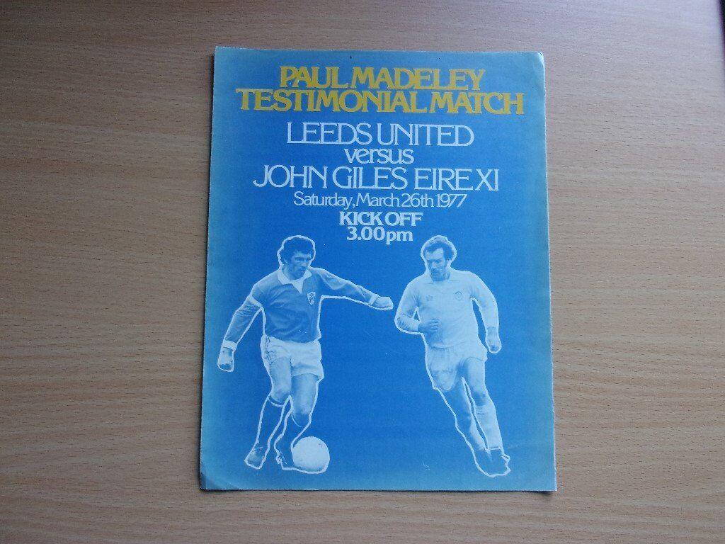 LEEDS UNITED VS. JOHN GILES EIRE X1. 1977 PAUL MADELEY TESTIMONIAL FOOTBALL PROGRAMME.