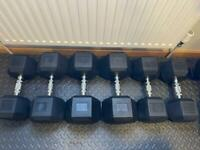 Hex Dumbbell Set 5-30kg - 6 Pairs 210kg Total Small Storage Rack