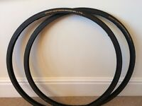 2 USED CONTINENTAL GATOR HARDSHELL CYCLE TYRES 700C 23MM PUNCTURE RESISTANT