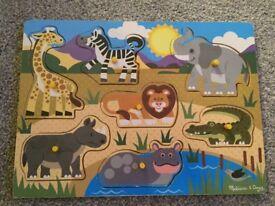 Melissa and Doug Wooden Safari Animals Puzzle
