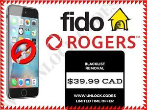 UNLOCK.CODES  --  Rogers / Fido iPhone Unlocking  --  $19.99 CAD  - FAST 24/48 HOURS